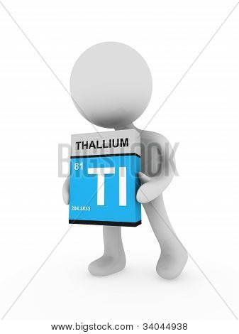 3D Man Carry A Thallium Box