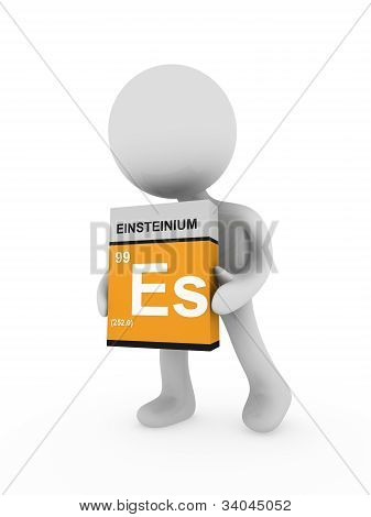 3D Man Carry A Einsteinium Box