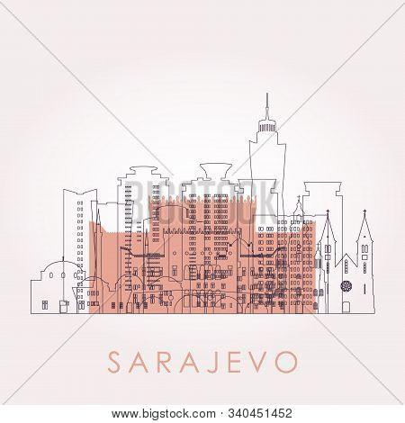 Outline Sarajevo Skyline With Landmarks. Vector Illustration. Business Travel And Tourism Concept Wi