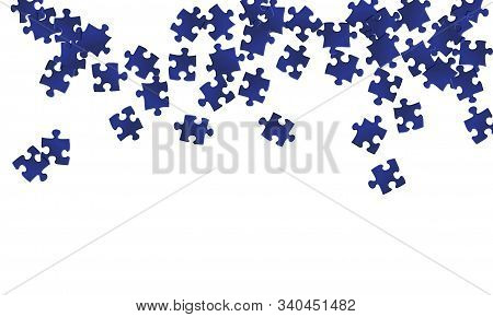 Business Conundrum Jigsaw Puzzle Dark Blue Pieces Vector Background. Top View Of Puzzle Pieces Isola