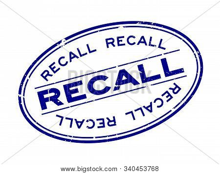 Grunge Blue Recall Word Oval Rubber Seal Stamp On White Background