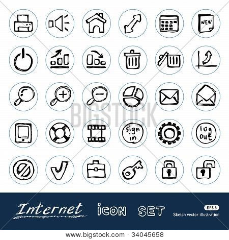 Doodle Internet and finance icons set