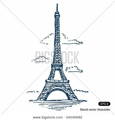 Eiffel tower in Paris. Hand drawn vector isolated on white poster