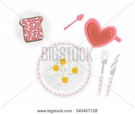 Vector Flat Illustration Of Perfect Breakfast Isolated On White Background. Brunch With Eggs Like He