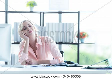 Relax Working.  Business Young Women Relax After Job Working Hard.  People Celebrating Growth Work F