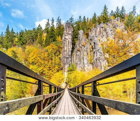 Swing Bridge Over Ohre River At Svatos Rocks, Czech: Svatosske Skaly, At Autumn Time, Czech Republic