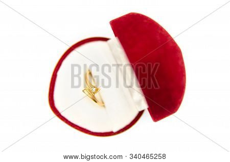 Jewelry Ring In Box Isolated On A White Background