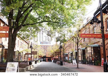 Durham,nc/usa - 10-23-2018: Brightleaf Square Shopping Center Near Downtown Durham, Which Includes R