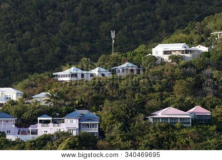 The Morning View Of Road Town Suburb On Tortola Island (british Virgin Islands).