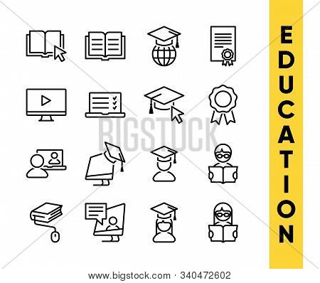 Education Vector Icons Set For Internet And Online Education, E-learning Resources, Distant Online C