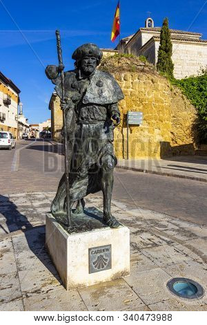 Carrion De Los Condes, Spain - May 20, 2017: Monument To The Pilgrim From 2006 In Carrion De Los Con