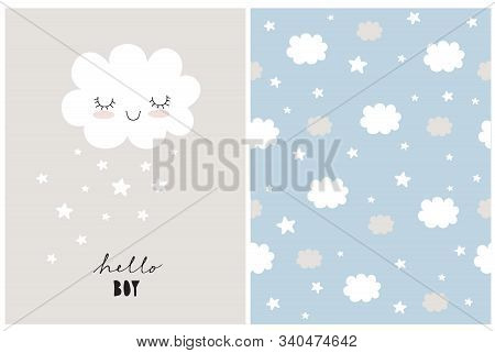 White Fluffy Smiling Cloud On A Light Gray Background. Simple Baby Shower Art. Cute Simple Baby Show