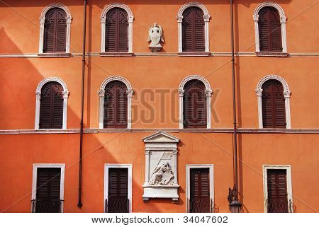 facade with shutters in Verona, Italy