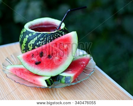 Watermelon Juice Punch Non-alcoholic Cocktail. Water Melon Juice Cocktail - Cold Summer Drink. Water