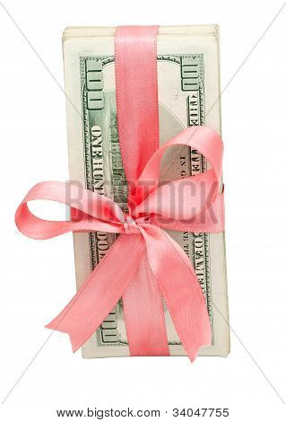 dollars with pink ribbon