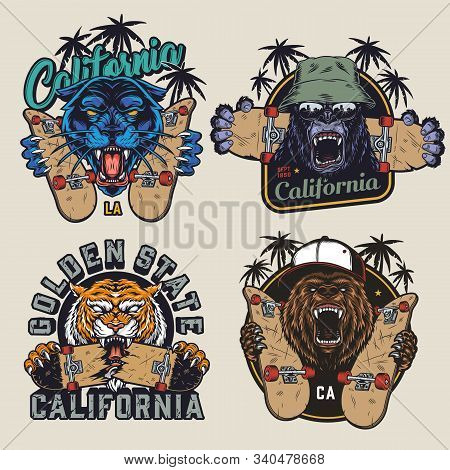 Skateboarding And Animals Colorful Labels With Ferocious Angry Black Panther Gorilla Tiger Bear Head