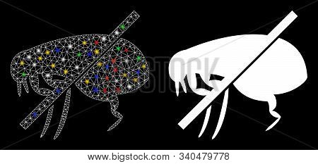 Flare Mesh No Fleas Icon With Glare Effect. Abstract Illuminated Model Of No Fleas. Shiny Wire Frame