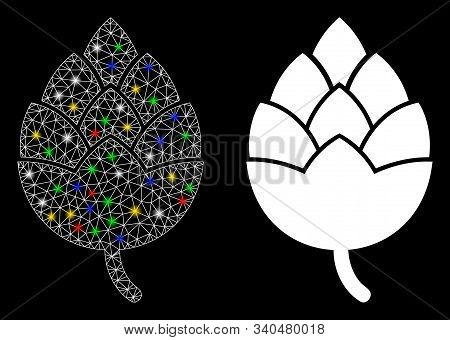 Glossy Mesh Hop Bud Icon With Sparkle Effect. Abstract Illuminated Model Of Hop Bud. Shiny Wire Fram
