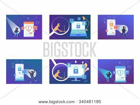 Hacker Attack Set. Cybercriminal Using Computer, Caught With Spotlight. Flat Vector Illustrations. V