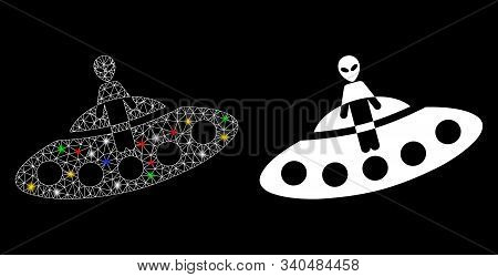 Glossy Mesh Aboard Ufo Icon With Sparkle Effect. Abstract Illuminated Model Of Aboard Ufo. Shiny Wir