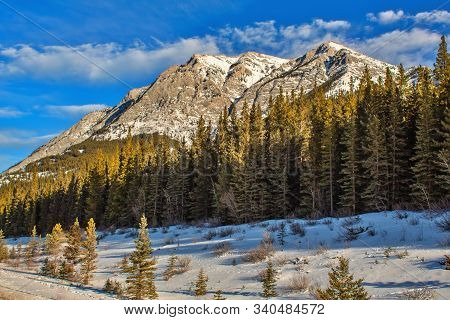 A Scenic Mountain View In Winter In Kananaskis Country