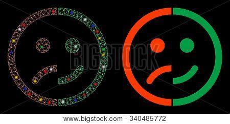 Glossy Mesh Bipolar Emotion Icon With Glare Effect. Abstract Illuminated Model Of Bipolar Emotion. S