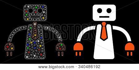 Flare Mesh Boss Robot Icon With Glow Effect. Abstract Illuminated Model Of Boss Robot. Shiny Wire Fr