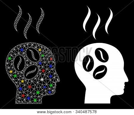Glossy Mesh Coffee Dream Head Icon With Sparkle Effect. Abstract Illuminated Model Of Coffee Dream H