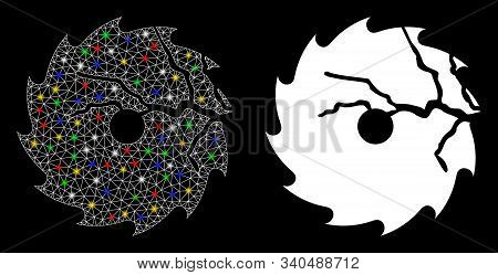 Bright Mesh Damaged Circular Saw Icon With Glare Effect. Abstract Illuminated Model Of Damaged Circu
