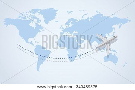 The Plane Is Flying. The Plane Flew Over The Map. View From Above. Travel And Tourism Background. Tr