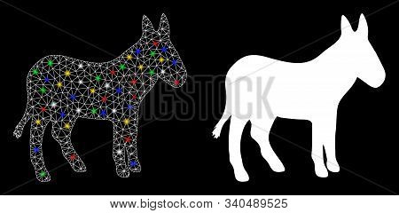 Glossy Mesh Donkey Icon With Sparkle Effect. Abstract Illuminated Model Of Donkey. Shiny Wire Carcas