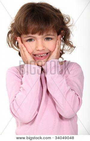 delightful little girl panic-stricken