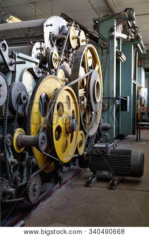 Old Unused Loom In The Weaving Shop In An Abandoned Textile Factory