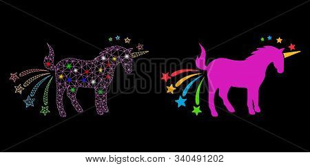 Glossy Mesh Farting Unicorn Icon With Sparkle Effect. Abstract Illuminated Model Of Farting Unicorn.