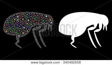 Glossy Mesh Flea Icon With Glitter Effect. Abstract Illuminated Model Of Flea. Shiny Wire Frame Tria
