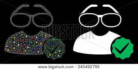Glossy Mesh For Clevers Icon With Glitter Effect. Abstract Illuminated Model Of For Clevers. Shiny W