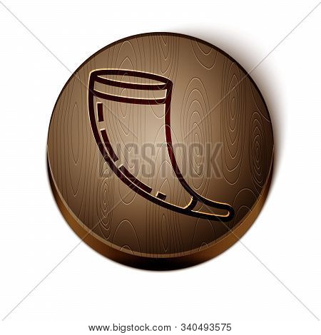 Brown Line Traditional Ram Horn, Shofar Icon Isolated On White Background. Rosh Hashanah, Jewish New