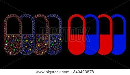 Glossy Mesh Generic Pharma Icon With Glitter Effect. Abstract Illuminated Model Of Generic Pharma. S