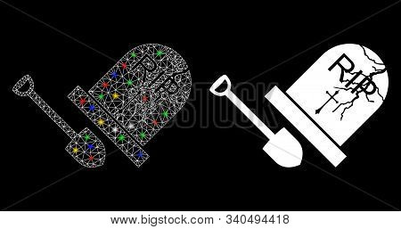 Bright Mesh Grave Exhumation Icon With Glitter Effect. Abstract Illuminated Model Of Grave Exhumatio