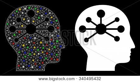 Flare Mesh Human Intellect Icon With Sparkle Effect. Abstract Illuminated Model Of Human Intellect.