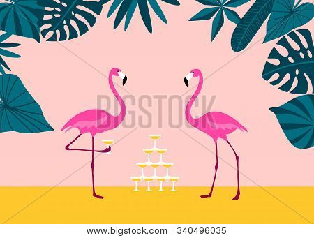 Pink Flamingo Drinking Margarita From Champagne Tower On Tropical Beach. Exotic Birds.