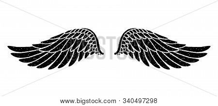 Hand Drawn Bird Or Angel Grunge Textured Flapping Wings. Hand Drawn Wings Silhouette For T-shirt Pri