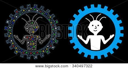 Flare Mesh Mad Engineer Icon With Sparkle Effect. Abstract Illuminated Model Of Mad Engineer. Shiny