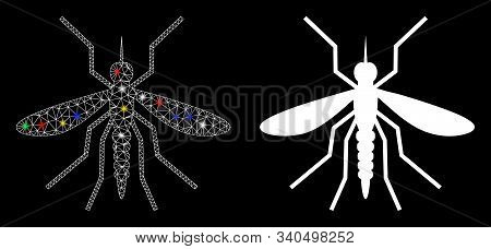 Bright Mesh Mosquito Icon With Glare Effect. Abstract Illuminated Model Of Mosquito. Shiny Wire Carc