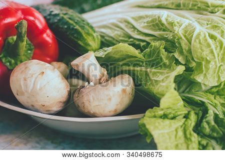 Prepare Ingredient Food For Vegan Mixed Vermicelli With Vegetables, Red Paprika, Cucumber, Vegetaria