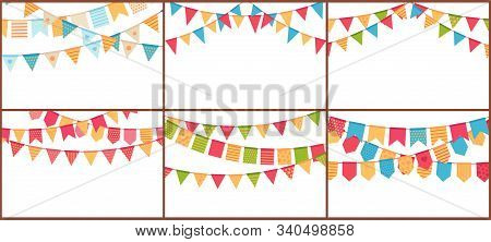 Party Bunting. Birthday Flags Banner, Color Triangle Flag Buntings And Festival Paper Garland Vector