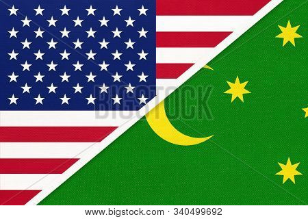 Usa Vs Cocos Islands Or Keeling National Flag From Textile. Relationship, Partnership And Economic B