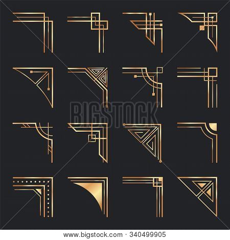Art Deco Corners. Golden Geometric Ornamental Corner, Frame Decoration And Gold Retro Frame Elements