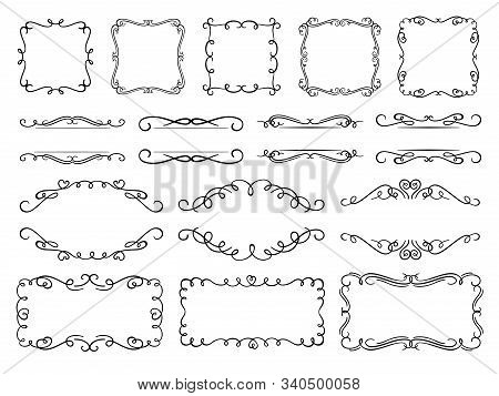 Calligraphy Flourish Frames. Vintage Text Frame Decorated Ornamental Flourishes, Ornate Borders And