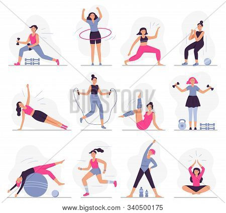 Woman Sport Activities. Beautiful Young Woman Do Fitness Activities, Female Character Run And Yoga E